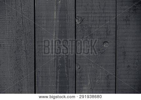 Dark Gray Painted Rustic Fence. Dark Grey Wooden Boards Texture. Vintage Dark Gray Painted Rustic. O