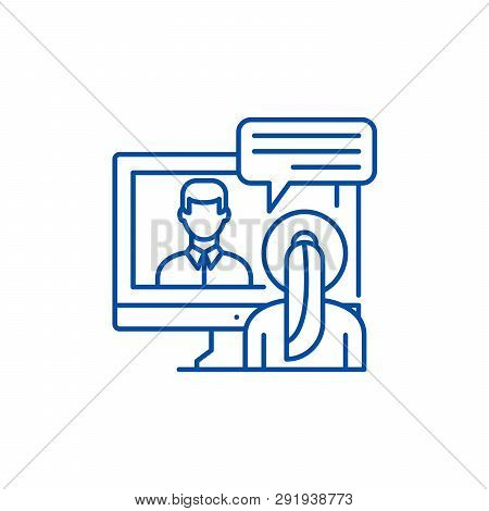 Online Negotiations Line Icon Concept. Online Negotiations Flat  Vector Symbol, Sign, Outline Illust