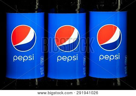 St. Paul, Mn/usa - March 6, 2019: Pepsi Cola Soda In Grouping Of Three. Pepsi Is A Carbonated Soft D