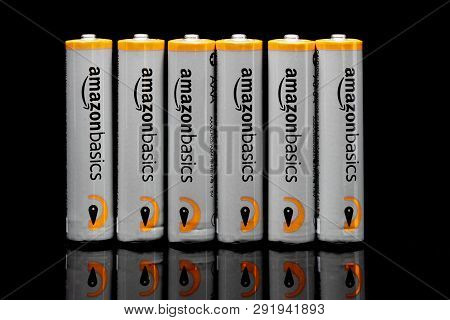 St. Paul, Mn/usa - March 18, 2019: Amazonbasics Grouping Of Aaa Batteries. Amazonbasics Is A Private