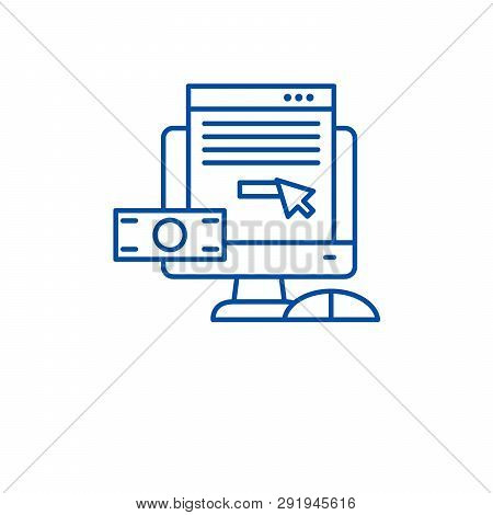 Pay Per Click Line Icon Concept. Pay Per Click Flat  Vector Symbol, Sign, Outline Illustration.