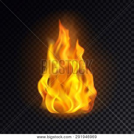 Flame Icon Or Realistic Fire Emoji, Lit Emoticon Or Red Bonfire Logo, Burn Or Blaze, Yellow Heat Or
