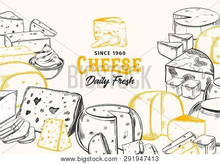 Sketch Cheese For Dairy Banner. Vegetarian Food Sign For Shop Or Store. Mozzarella And Cream, Fresh