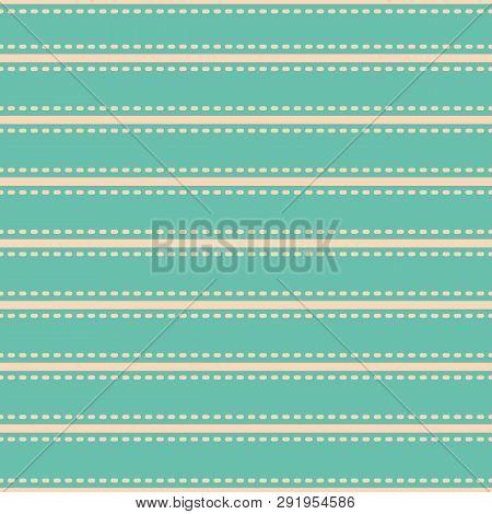 Beautiful Vibrant Simple Horizontal Stripe Stitch Style Design. Vector Seamless Pattern On Turquoise