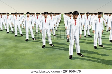 Army of men in white suits. 3D rendering