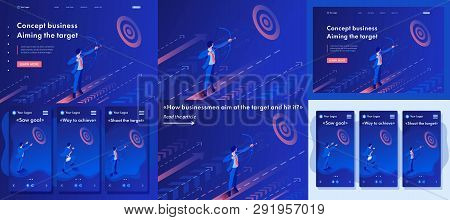 Set Template Article, Landing Page, App Design, Isometric Businessman Aiming At The Target, Business