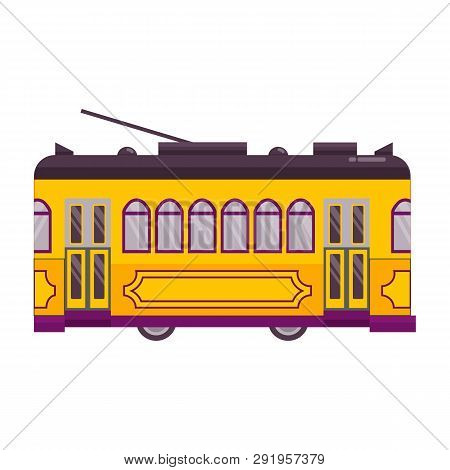Yellow Vintage Tram Icon Isolated On White Background. Lisbon Retro Tramway. Old-fashioned Trolley S