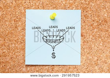 Sales Funnel Lead Generation Business Concept Drawn On Blue Sticky Note Pinned On Cork Bulletin Boar
