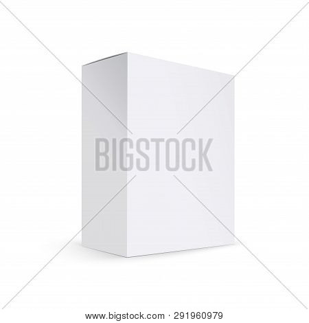 Blank White Product Packaging Box Isolated. Box Mockup. Realistic 3d Product Packaging Box For Desig