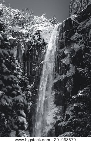 Black And White Bridalveil Falls During The Winter In Yosemite National Park, California.