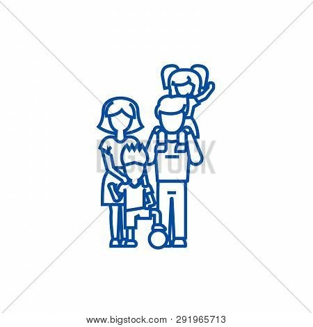 Family, On Fathers Shoulders, Mother  Line Icon Concept. Family, On Fathers Shoulders, Mother  Flat