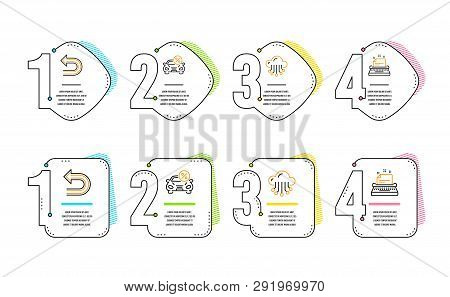 Car leasing, Undo and Cloud storage icons simple set. Typewriter sign. Transport discount, Left turn, Data service. Instruction. Infographic timeline. Line car leasing icon. 4 options or steps. Vector poster