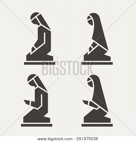 Traditionally Clothed Muslim Arab Man And Woman Making A Supplication (salah) Versions In Different