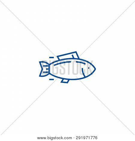Fish, Tuna Line Icon Concept. Fish, Tuna Flat  Vector Symbol, Sign, Outline Illustration.