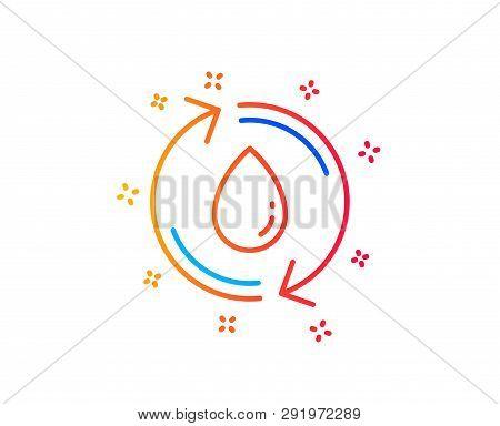Water Drop Line Icon. Recycle Clean Aqua Sign. Refill Liquid Symbol. Gradient Design Elements. Linea