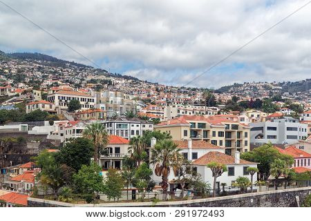 Panoramic View At Buildings In Funchal City On Portuguese Island Of Madeira