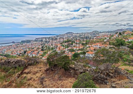Aerial View At Residential District In Funchal City. Portuguese Island Of Madeira