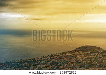 Beautiful Golden Sky Over The Coastline On Portuguese Island Of Madeira