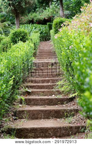 Small Stone Staircase In A Garden Near To The Church Of Our Lady Of Monte In Nossa Senhora Do Monte,