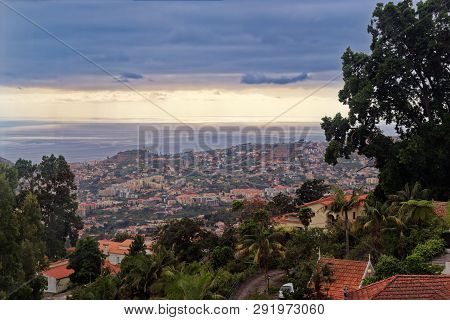 Aerial View Over Funchal City From Monte On Portuguese Island Of Madeira