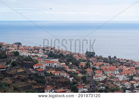 Aerial View At Funchal City And Sea Water From Monte On Portuguese Island Of Madeira