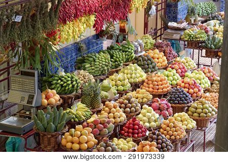 Exotic Fruits On Famous Market In Funchal (mercado Dos Lavradores), Portuguese Island Of Madeira