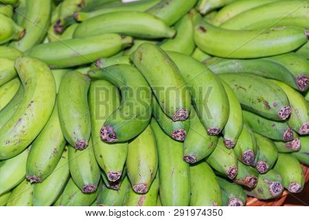 Ripe, Green Yellow Bananas In A Basket. Portuguese Island Of Madeira