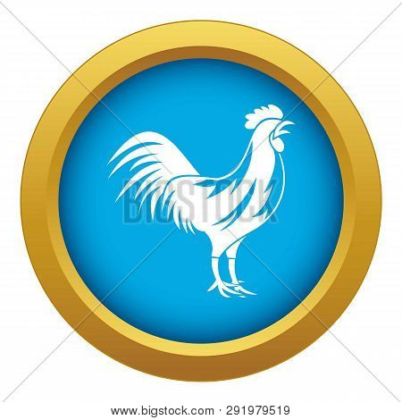 Gallic Rooster Icon Blue Isolated On White Background For Any Design