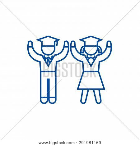 Graduation, Students, Teaching People Line Icon Concept. Graduation, Students, Teaching People Flat