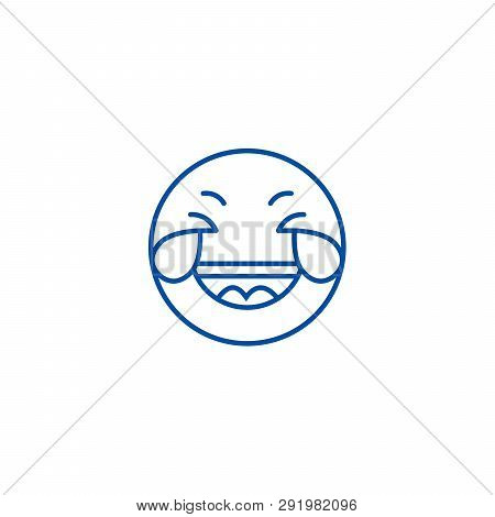 Grinning Emoji Wit H Face Line Icon Concept. Grinning Emoji Wit H Face Flat  Vector Symbol, Sign, Ou