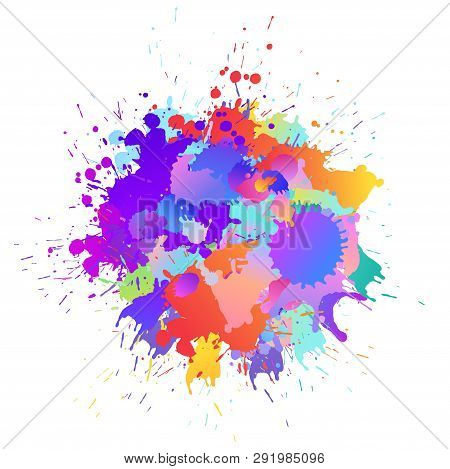 Colorful Banner Background With Art Paint Drops, Spots. Grunge Layout Of Rainbow Blotch (different C