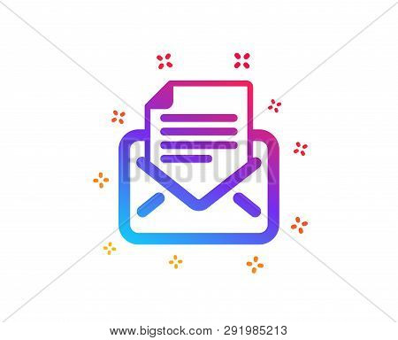 Mail correspondence icon. Read Message sign. E-mail symbol. Dynamic shapes. Gradient design mail correspondence icon. Classic style. Vector poster