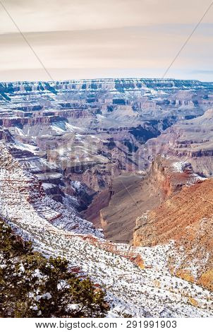 The Grand Canyon In Winter With Snow In The Higher Elevations.  This Is An Epic Image Taken From The