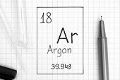The Periodic table of elements. Handwriting chemical element Argon Ar with black pen, test tube and pipette. Close-up. poster