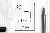 The Periodic table of elements. Handwriting chemical element Titanium Ti with black pen, test tube and pipette. Close-up. poster