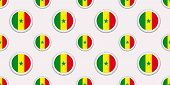 Senegal round flag seamless pattern. Senegalese background. Vector circle icons. Geometric symbols stickers. Texture for sports pages, games, travelling design elements. patriotic wallpaper. poster