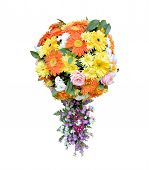 Spherical shape flowers bouquet with appendage isolated on white background, beautiful florist design of flower ball for decorative in good occasion, flower ball shape bouquet, beautiful bouquet poster