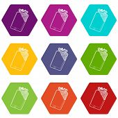 Gadget in glued reparation icons 9 set coloful isolated on white for web poster