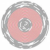 Concentric circulating, circle lines red color. Abstract vortex line background. Vector illustration for design your website poster
