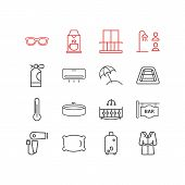 illustration of 16 hotel icons line style. Editable set of hairdryer, shared bathroom, bag trolley and other icon elements. poster