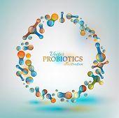 Probiotics and prebiotics. Normal gram-positive anaerobic microflora image. Editable vector illustration in bright colors in unique style. Medical, healthcare and scientific concept. poster