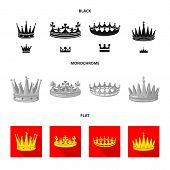 Vector illustration of medieval and nobility icon. Collection of medieval and monarchy stock symbol for web. poster