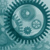 Abstract illustration of lines and cogwheel shapes poster