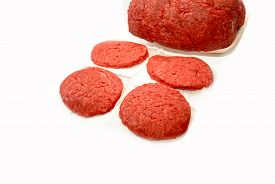 Raw Ground Beef Isolated On A White Background