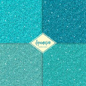 Set Of Aquamarine Sparkles Texture With Shine, Glossy Confetti, Glitter Background. Vector Illustrat