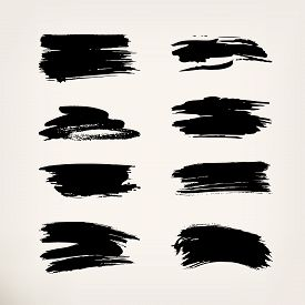 Black Ink Brush Strokes. Set Of Grunge Painting On Isolated Background. Abstract Vector Illustration