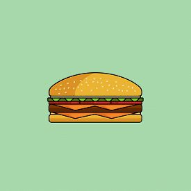 Cute Cartoon Cheeseburger With Double Cheese. Burger With Salad, Tomatos, Cutlet. Minimal Line Style