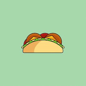 Cute Cartoon Tacos. Burrito In Minimal Line Style, Modern Color, Flat Design. Mexican Food Thin Line