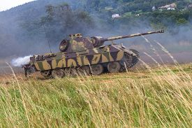 German Tank Pzkpfw 171 Panther From Ww Ii During Historical  Reenactment. Poland