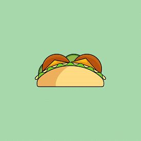 Cute Cartoon Tacos. Burrito With Salad, Cucumber, Cutlet, Cheese.minimalist Line Style, Modern Color
